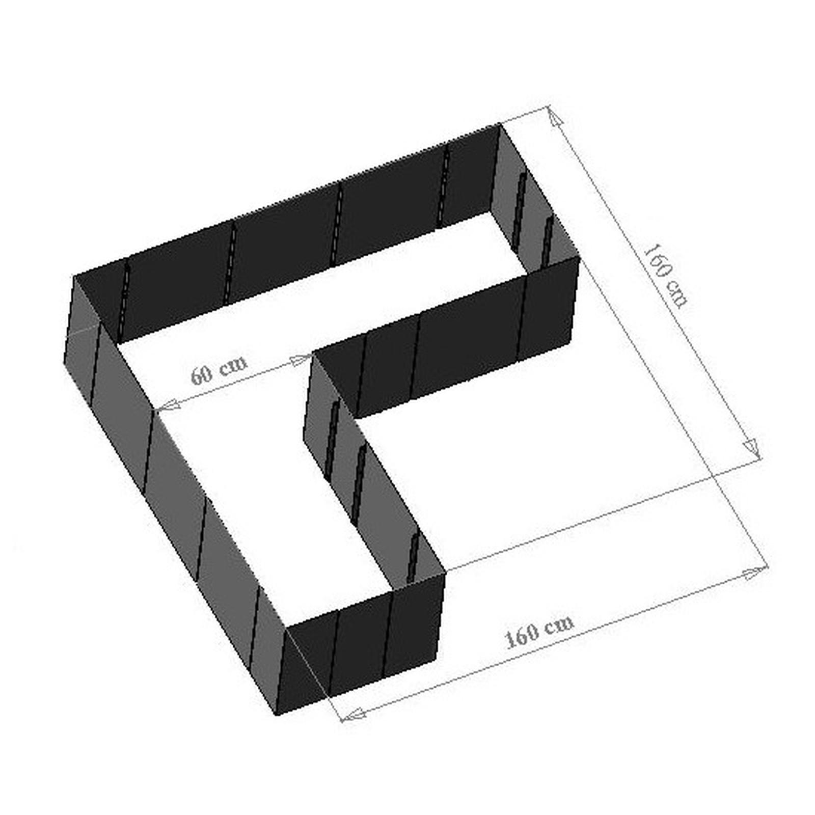 edelstahl hochbeet corner 160 33cm h he. Black Bedroom Furniture Sets. Home Design Ideas
